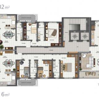 Planta inteira dos apartamentos tipo 01, 02 e 03: 0.00m² área privativa, 0.00m² área total